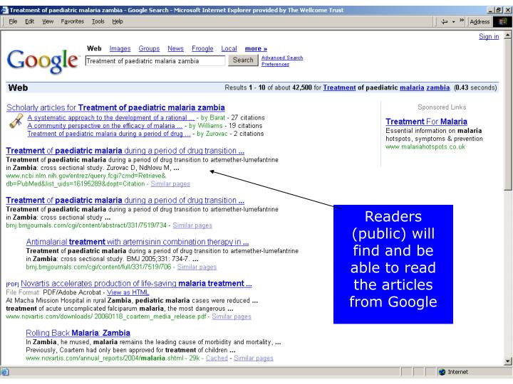 Readers (public) will find and be able to read the articles from Google