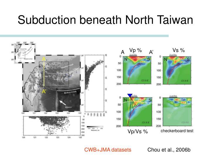 Subduction beneath North Taiwan
