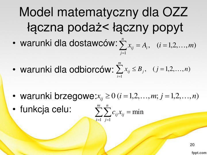 Model matematyczny dla OZZ