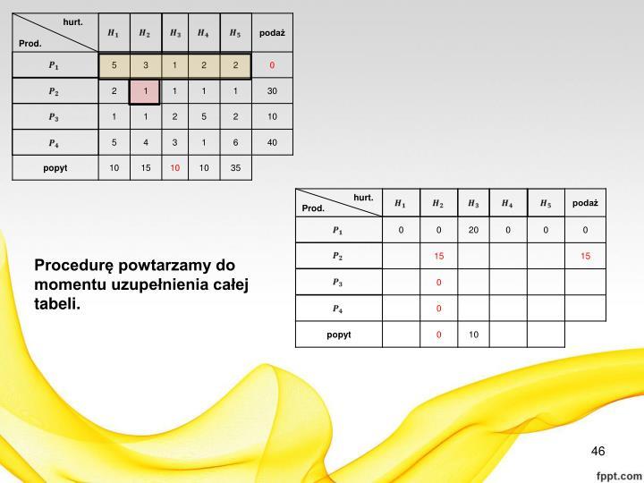 Procedurę powtarzamy do momentu uzupełnienia całej tabeli.
