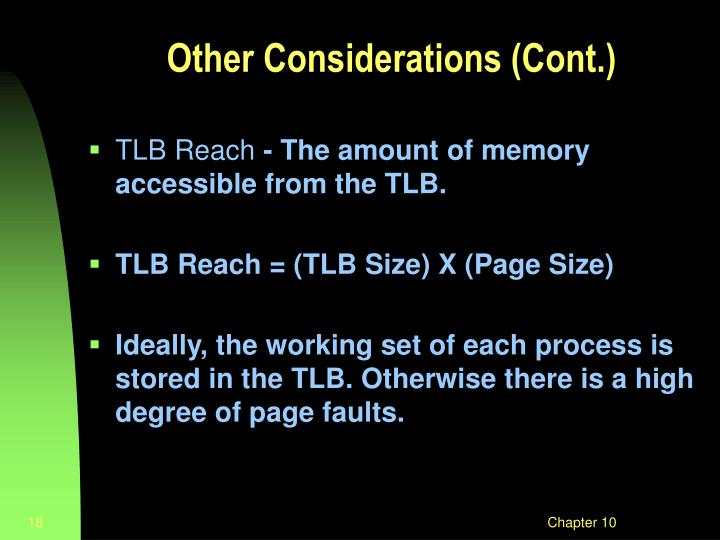 Other Considerations (Cont.)