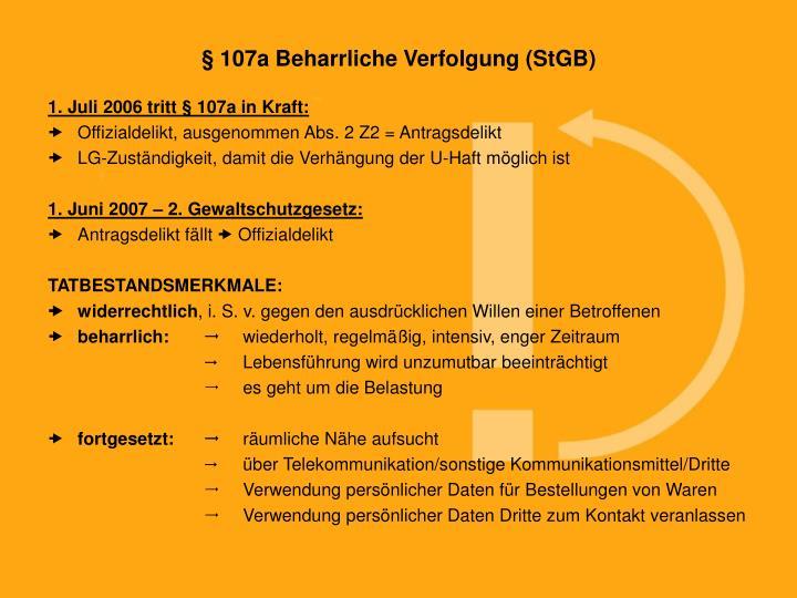 § 107a Beharrliche Verfolgung (StGB)