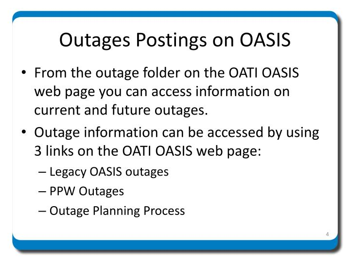 Outages Postings on OASIS