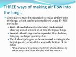 three ways of making air flow into the lungs