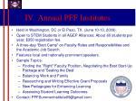 iv annual pff institutes