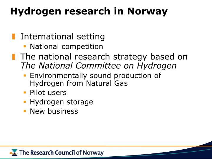 Hydrogen research in Norway