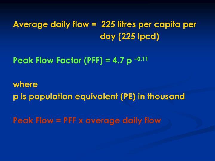 Average daily flow =  225 litres per capita per