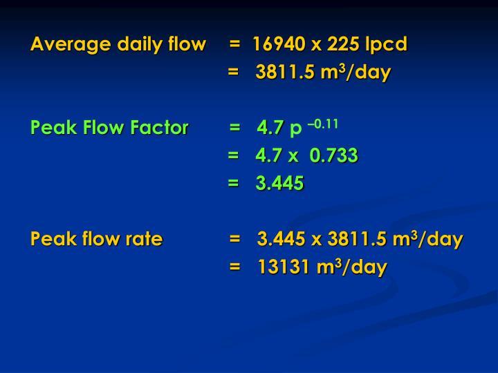 Average daily flow  =  16940 x 225 lpcd