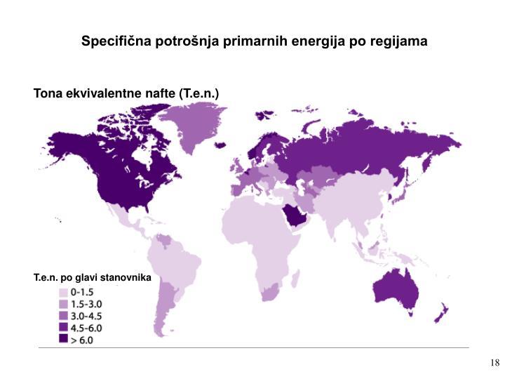 Specifična potrošnja primarnih energija po regijama