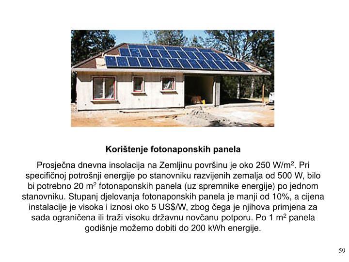 Korištenje fotonaponskih panela