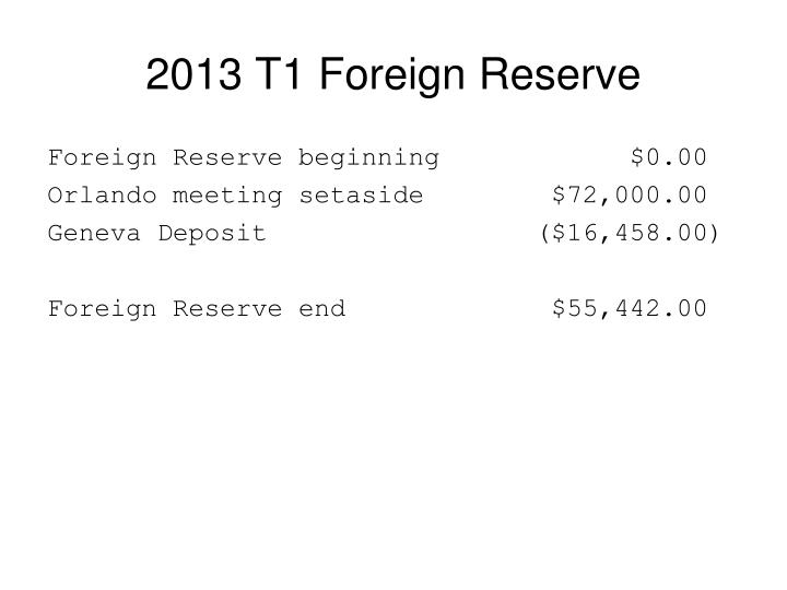 2013 T1 Foreign Reserve