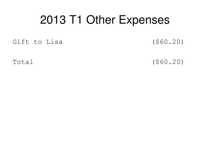 2013 T1 Other Expenses