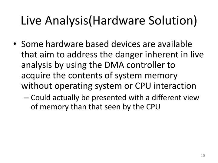Live Analysis(Hardware Solution)