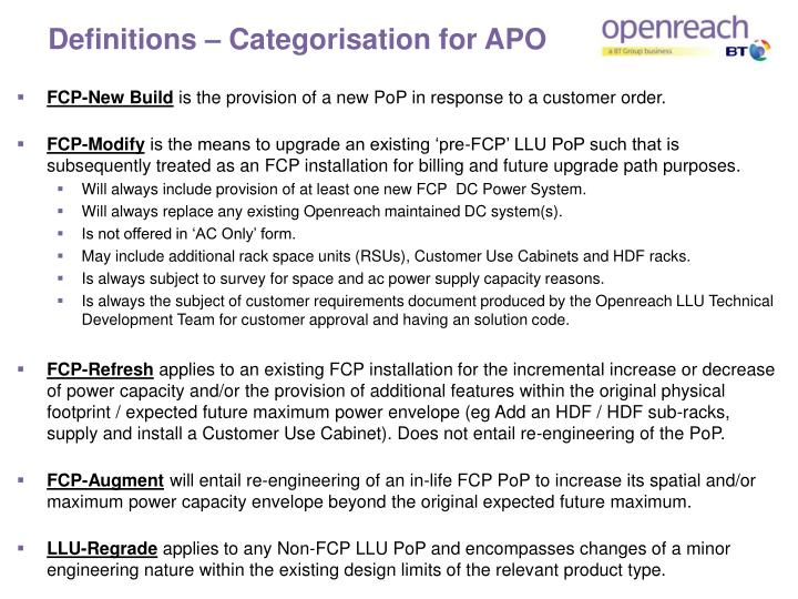 Definitions – Categorisation for APO