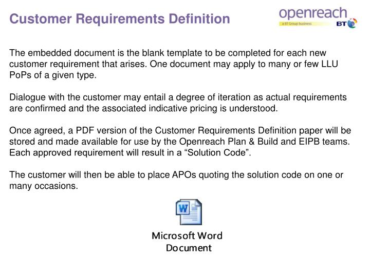 Customer Requirements Definition