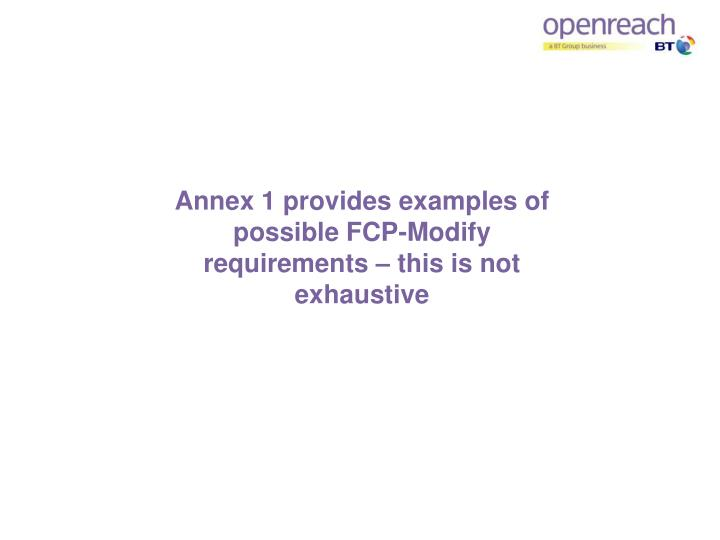 Annex 1 provides examples of possible FCP-Modify requirements – this is not exhaustive