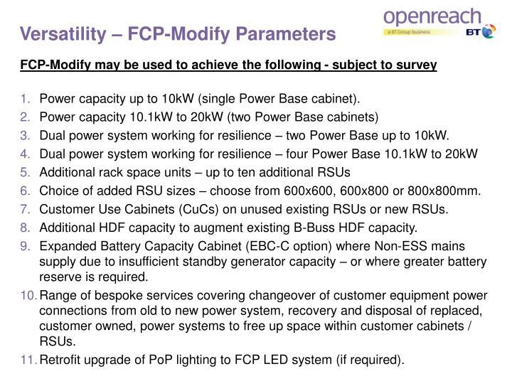 Versatility – FCP-Modify Parameters