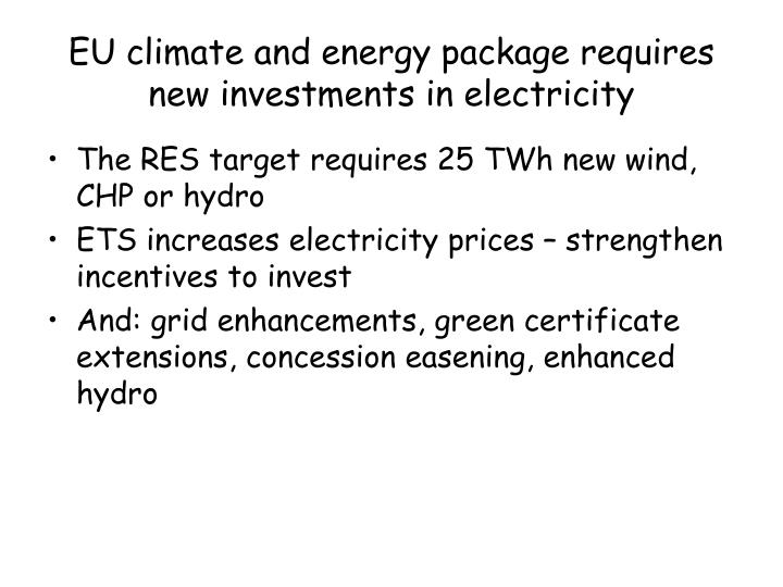 EU climate and energy package requires new investments in electricity