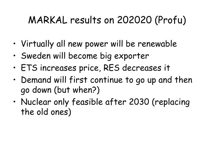 MARKAL results on 202020 (Profu)