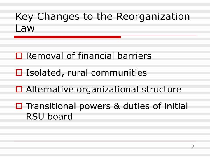 Key changes to the reorganization law