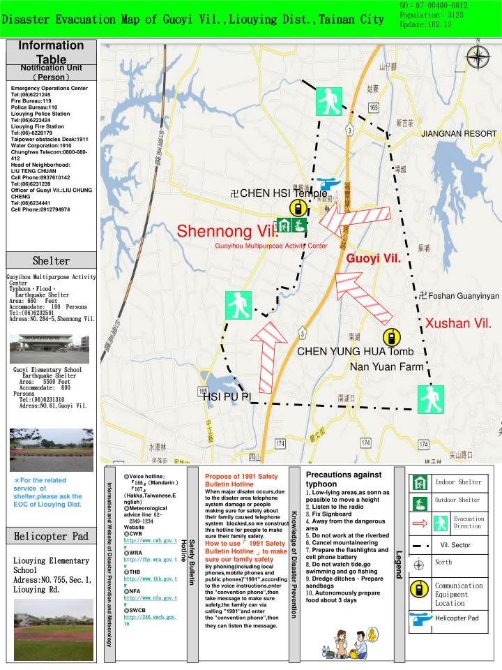 D isaster evacuation map of guoyi vil liouying dist tainan city