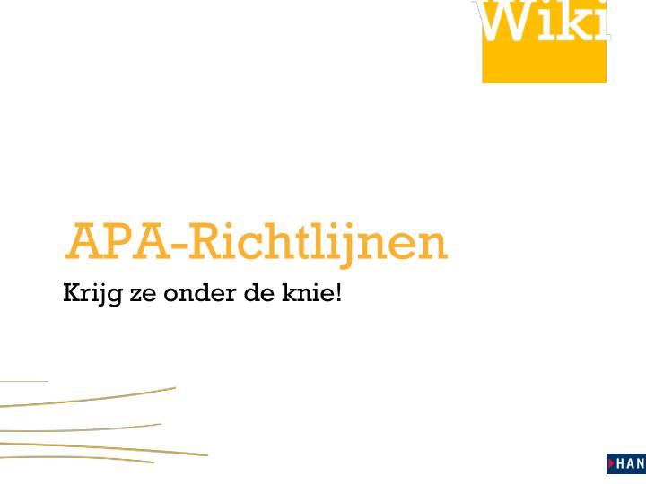 APA-Richtlijnen