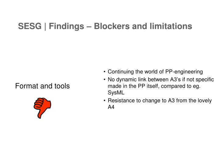 SESG | Findings – Blockers and limitations