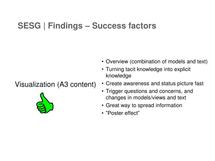 SESG | Findings – Success factors