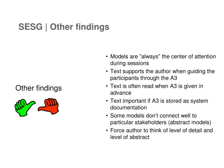 SESG | Other findings