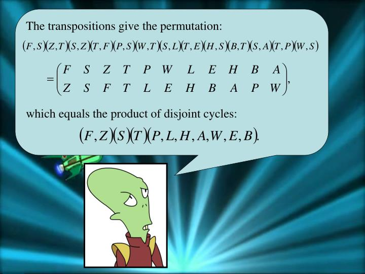 The transpositions give the permutation:
