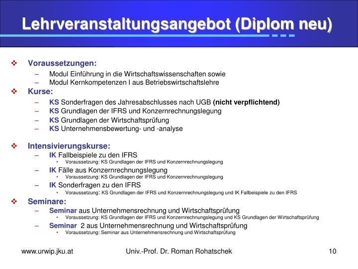 Lehrveranstaltungsangebot (Diplom neu)