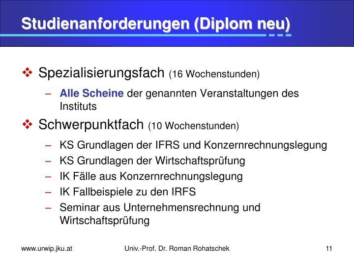 Studienanforderungen (Diplom neu)