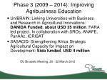phase 3 2009 2014 improving agribusiness education