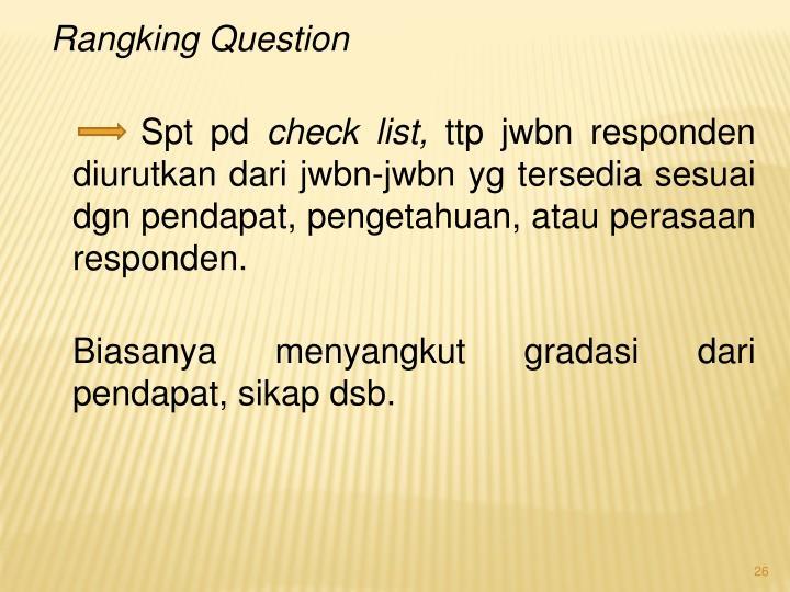 Rangking Question