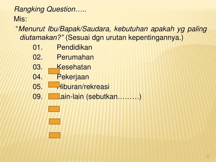Rangking Question…..