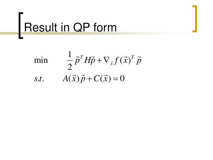 Result in QP form