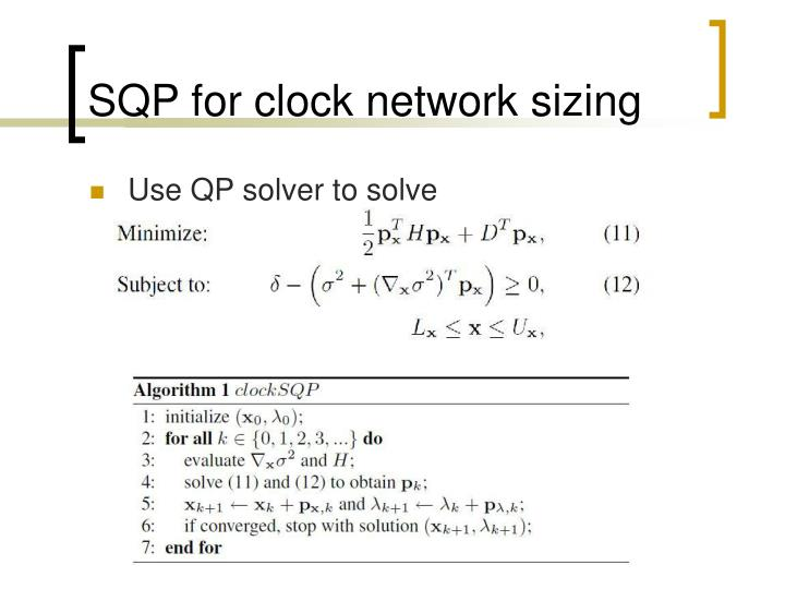SQP for clock network sizing