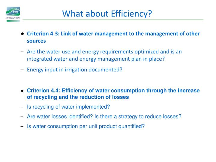 What about Efficiency?