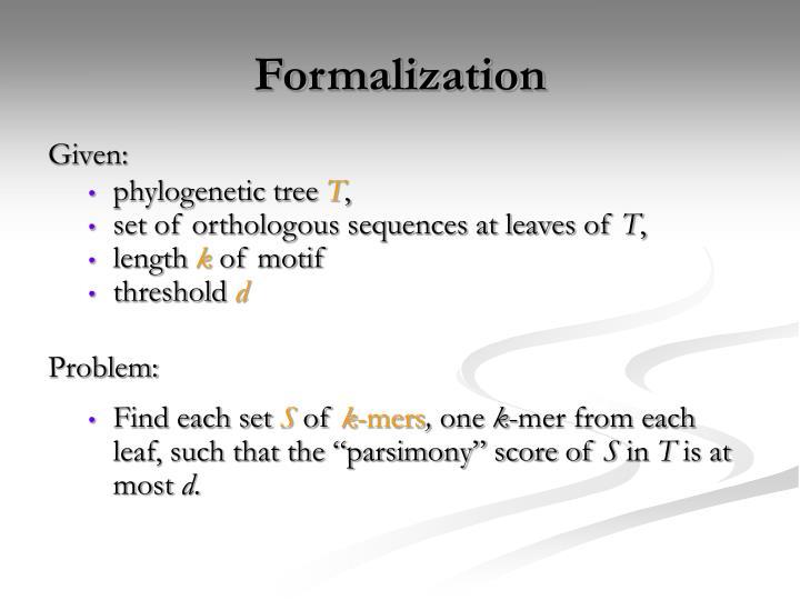 Formalization
