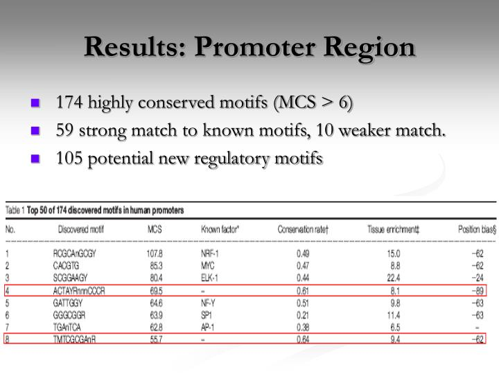 Results: Promoter Region