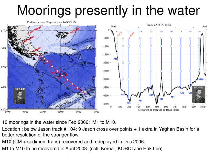 Moorings presently in the water