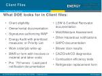 what doe looks for in client files