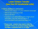 lower division transfer less than 60 transferable units