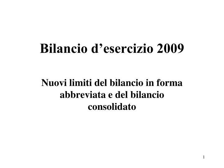 bilancio d esercizio 2009 n.