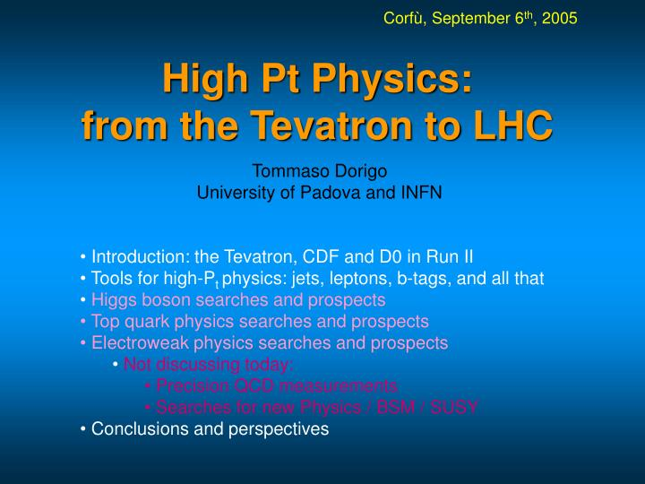 high pt physics from the tevatron to lhc n.