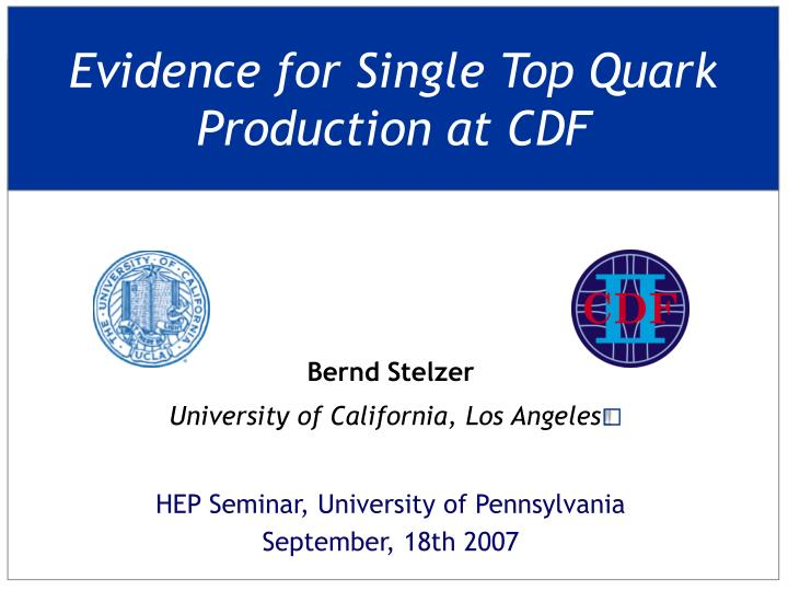 evidence for single top quark production at cdf n.