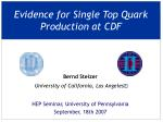 evidence for single top quark production at cdf