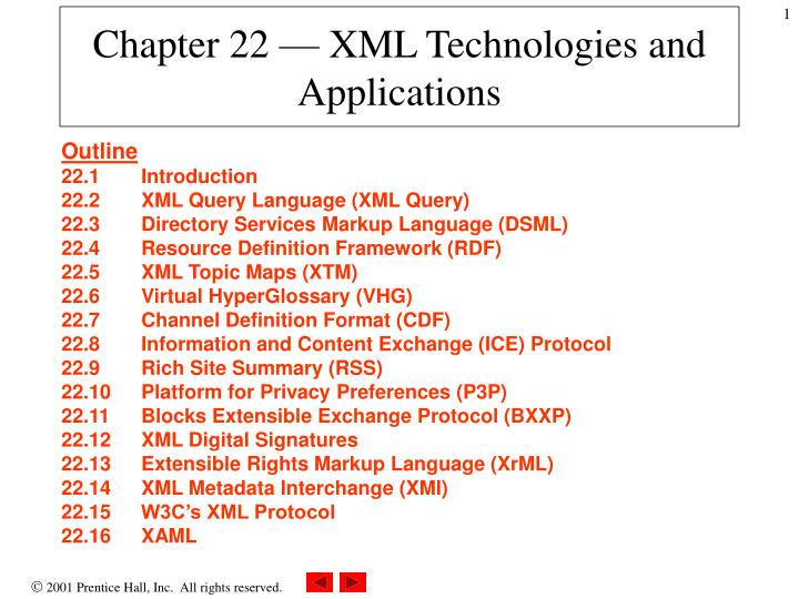 Chapter 22 xml technologies and applications