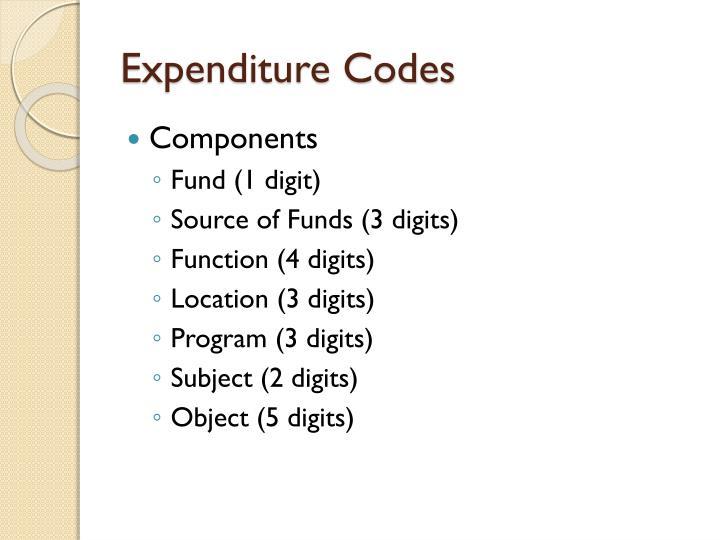 Expenditure Codes