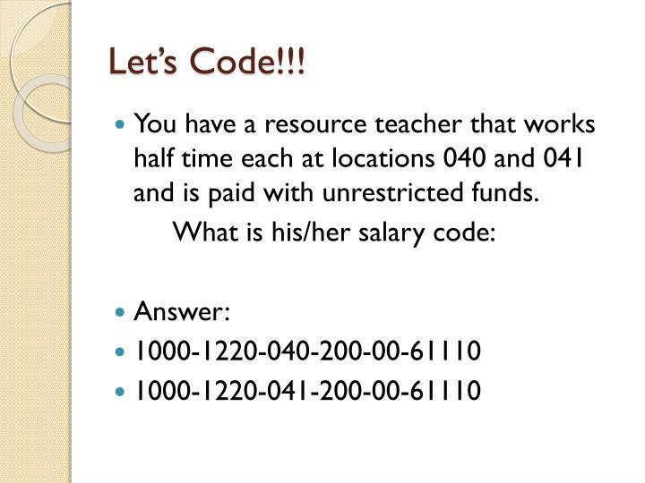 Let's Code!!!